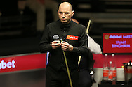 Joe Perry (Eng) looking on. Stuart Bingham (Eng) v Joe Perry (Eng), 1st round match at the Dafabet Masters Snooker 2017, day 2 at Alexandra Palace in London on Monday 16th January 2017.<br /> pic by John Patrick Fletcher, Andrew Orchard sports photography.