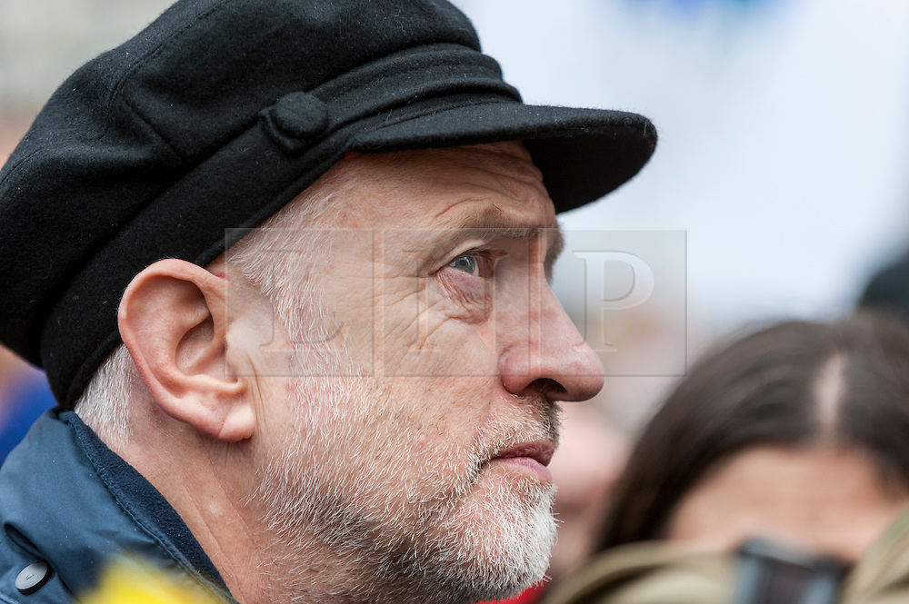 © Licensed to London News Pictures. 29/11/2015. London, UK. Jeremy Corbyn, leader of the Labour Party, gives a speech at the start of the People's Climate March, ahead of tomorrow's Paris climate talks.  The march is one of many such marches taking place in major cities worldwide, demanding that governments take action against climate change.  The march followed a route through the capital from Park Lane to Millbank. Photo credit : Stephen Chung/LNP