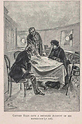 Captain Ellis gave a detailed account of his Expedition from the book ' Mistress Branican ' by Jules Verne, illustrated by Leon Benett. The story begins in the United States, where the heroine, Mistress Branican, suffers a mental breakdown after the death by drowning of her young son. On recovering, she learns that her husband, Captain Branican, has been reported lost at sea. Having acquired a fortune, she is able to launch an expedition to search for her husband, who she is convinced is still alive. She leads the expedition herself and trail leads her into the Australian hinterland. Mistress Branican (French: Mistress Branican, 1891) is an adventure novel written by Jules Verne and based on Colonel Peter Egerton Warburton and Ernest Giles accounts of their journeys across the Western Australian deserts, and inspired by the search launched by Lady Franklin when her husband Sir John Franklin was reported lost in the Northwest Passage. Translated by A. Estoclet, Published in New York, Cassell Pub. Co. 1891.