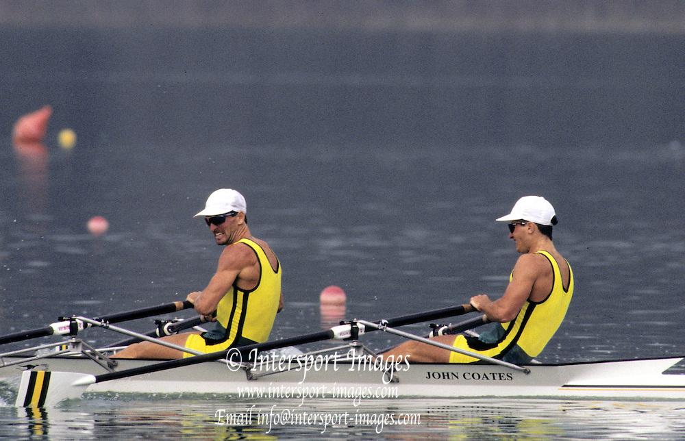 Barcelona Olympics 1992 - Lake Banyoles, SPAIN, AUS M2X  stroke, ANTONIE Peter,.HAWKINS Stephen Mark,  Photo: Peter Spurrier