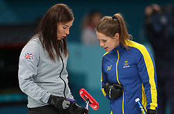 Great Britain skipper Eve Muirhead (left) exchanges words with Sweden Skipper Anna Hasselborg during the Women's Semi-Final at the Gangneung Curling Centre during day fourteen of the PyeongChang 2018 Winter Olympic Games in South Korea.