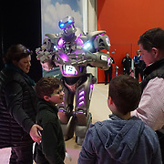 Meet and greet with Titan the Robot welcoming visitors at the boats exhibition at the London Boat Show Preview 2017 at Excel London,UK. Photo by See Li/Picture Capital