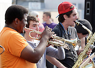 Warwick, New York - A band plays in a parking lot during the Applefest  harvest celebration on Oct. 3, 2010.