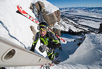 John Gaston emerges from Corbet's Couloir after hiking up the iconic chute during the 2013 U.S. Skin Mountaineering National Championships at Jackson Hole Mountain Resort. Gaston was in second place at the top of the Rendezvous Mountain but made up enough time on his descent to win the race with a time of 2:30:09.