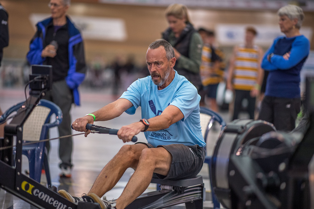 Peter Robinson MALE HEAVYWEIGHT Masters F 2K Race #2  08:45am<br /> <br /> www.rowingcelebration.com Competing on Concept 2 ergometers at the 2018 NZ Indoor Rowing Championships. Avanti Drome, Cambridge,  Saturday 24 November 2018 © Copyright photo Steve McArthur / @RowingCelebration