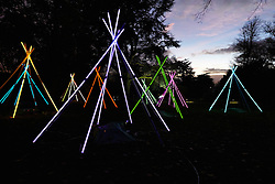 © Licensed to London News Pictures.  13/11/2013. AYLESBURY, UK. A light installation by artist Bruce Munro (not pictured). The piece called Tepees is created by arranging 12 foot long fluorescent tubes which flicker and flash. It is one of six and part of the Winter Light event at Waddesdon Manor which runs from today until 1st January 2014. Photo credit: Cliff Hide/LNP