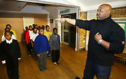 Drill Instructor Kwame Asante at Eastside Young Leaders Academy, Forest Gate, East London. This controversial figure was the originator of this project, designed to give self esteem and empowerment to young black males. EYLA exists to nurture and develop the leadership potential of young African and Caribbean males, empowering them to become the next generation of successful leaders.