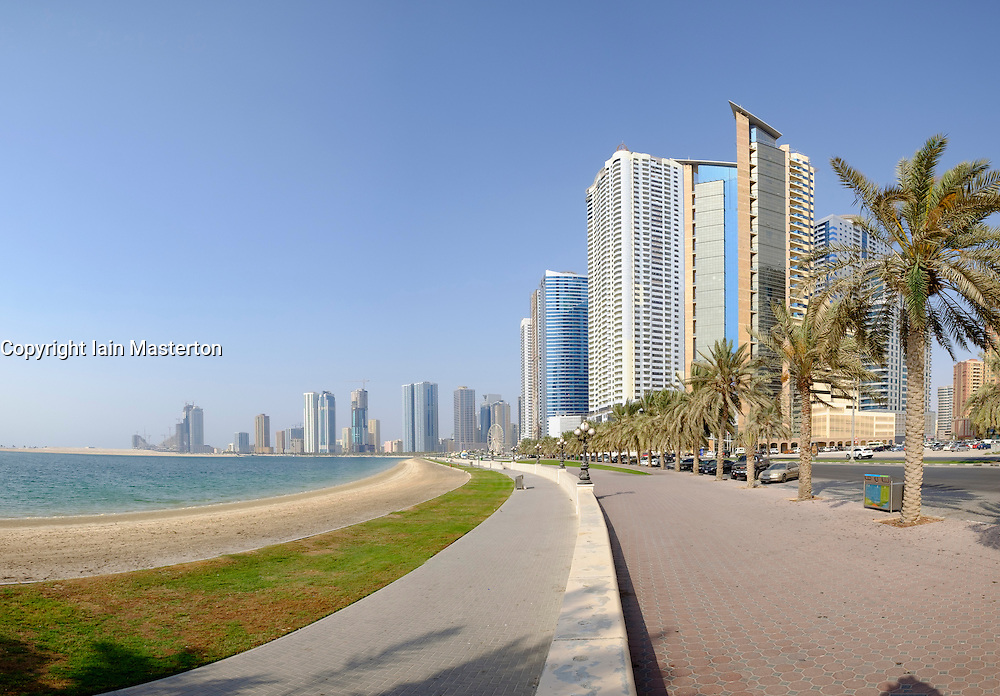 View along promenade at the Corniche in Sharjah United Arab Emirates