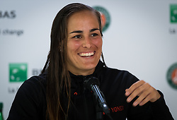 May 30, 2019 - Paris, FRANCE - Monica Puig of Puerto Rico talks to the media after her second-round match at the 2019 Roland Garros Grand Slam tennis tournament (Credit Image: © AFP7 via ZUMA Wire)