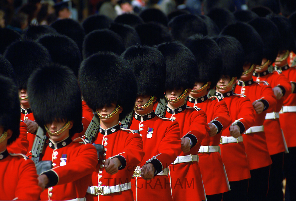Guards in bearskins march in Windsor, England
