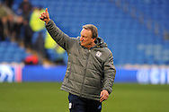 Cardiff City manager Neil Warnock celebrates towards the Cardiff fans after the game , as his team win 5-0. . EFL Skybet championship match, Cardiff city v Rotherham Utd at the Cardiff city stadium in Cardiff, South Wales on Saturday 18th February 2017.<br /> pic by Carl Robertson, Andrew Orchard sports photography.
