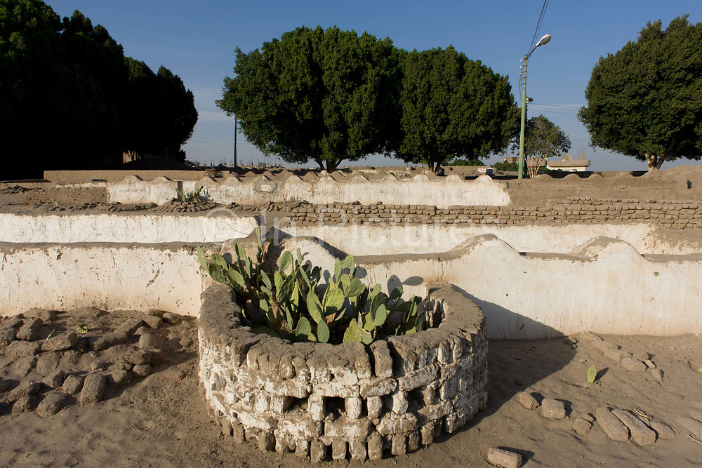 Muslim graves and cactus in a local cemetery in the village of Qum (Koom), on the West Bank of Luxor, Nile Valley, Egypt. The grave should be aligned perpendicular to the Qibla (i.e. Mecca). The body is placed in the grave without a casket, lying on its right side, and facing the Qibla. Grave markers should be raised only up to a maximum of 30 centimetres (12 in) above the ground. Thus Grave markers are simple, because outwardly lavish displays are discouraged in Islam. Many times graves may even be unmarked, or marked only with a simple wreath. However, it is becoming more common for family members to erect grave monuments.