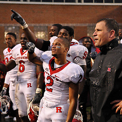 Sep 26, 2009; College Park, MD, USA; Rutgers head coach Greg Schiano and wide receiver Tim Brown (2) celebrate Rutgers' 34-13 victory over Maryland in NCAA college football at Byrd Stadium.