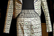 Moscow, Russia, 28/09/2005..The first Millionaire Fair in Moscow at the Crocus City Expo Centre attracted thousands of would-be and existing Russian millionaires to view and purchase a wide range of luxury goods. $15,000 suit made out of real dollar bills..