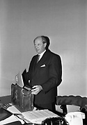 10th May 1965<br /> <br /> Minister for Finance Jack Lynch prepares to leave for Dáil Éireann to present his first Budget Day speech.