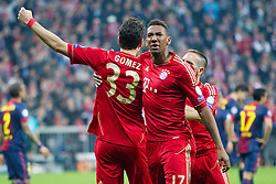 23-04-2013 VOETBAL: UEFA CL SEMI FINAL FC BAYERN MUNCHEN - FC BARCELONA: MUNCHEN<br /> Jubel nach dem Tor zum 2-0 durch Mario Gomez (FCB #33)  mit Jerome Boateng (FCB #17) und Franck Ribery (FCB #7)<br /> ***NETHERLANDS ONLY***<br /> ©2013-FotoHoogendoorn.nl