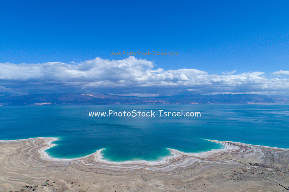 Aerial Photography with a drone. Elevated view of the shore of the Dead Sea, Israel