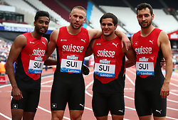 July 22, 2018 - London, United Kingdom - Pascal Mancini Silvan Wicki , Florian Clivaz and Sugathan Somasundaram of Switzerland  Relay Team after  the 4 x 400m Relay Men  during the Muller Anniversary Games IAAF Diamond League Day Two at The London Stadium on July 22, 2018 in London, England. (Credit Image: © Action Foto Sport/NurPhoto via ZUMA Press)