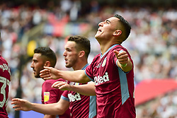 May 27, 2019 - London, England, United Kingdom - Anwar El Ghazi (22) of Aston Villa celebrates after scoring a goal to make it 1-0 during the Sky Bet Championship match between Aston Villa and Derby County at Wembley Stadium, London on Monday 27th May 2019. (Credit: Jon Hobley | MI News) (Credit Image: © Mi News/NurPhoto via ZUMA Press)