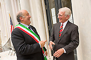 Charleston Mayor Joseph P. Riley (R) shares a laugh with Mayor Fabrizio Cardarelli of Spoleto Italy following the opening ceremony for the Spoleto Festival USA, a 17-day performing arts festival May 22, 2015 in Charleston, South Carolina. Riley opened the festival for the last time as Mayor as he will retire at the end of the year after 39-years.