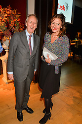 CHARLIE MAYHEW ceo of Tusk and KATHERINE FAIRWEATHER at a lecture featuring Don McCullin talking on War and Peace with Kate Silverton in aid of TUSK at Christie's, 8 King Street, London on 9th December 2015.