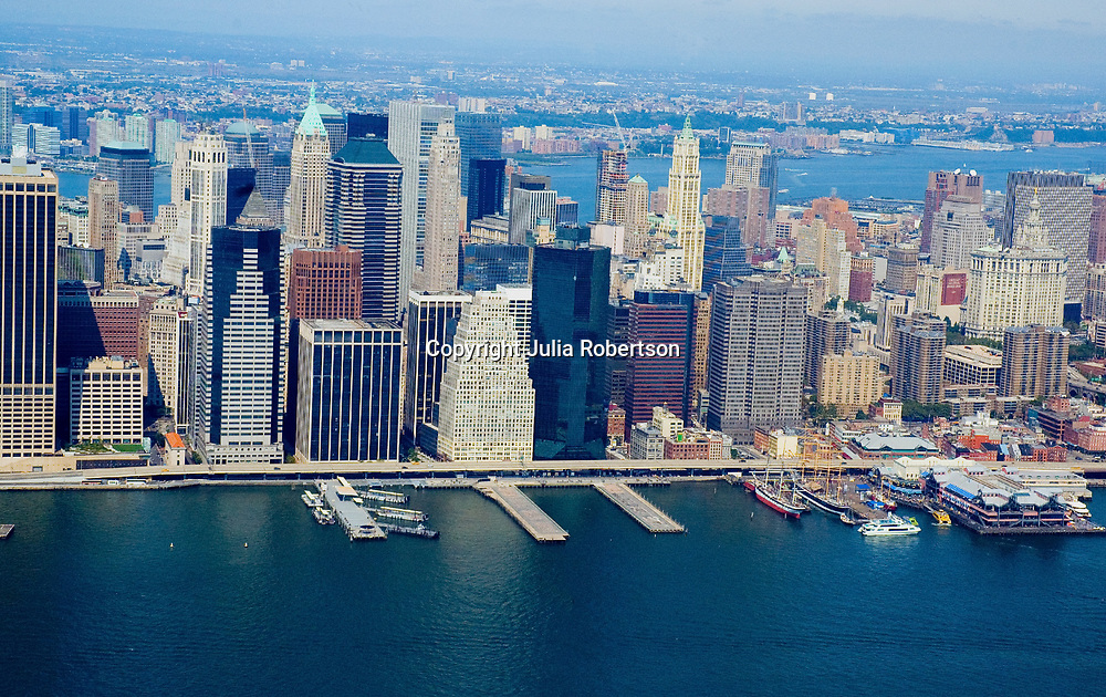Aerial view of New York City East Side, East River,  Pier 17, Wall Street, South street Seaport,