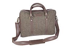 Ethan Harris Tweed/Leather Laptop Bag