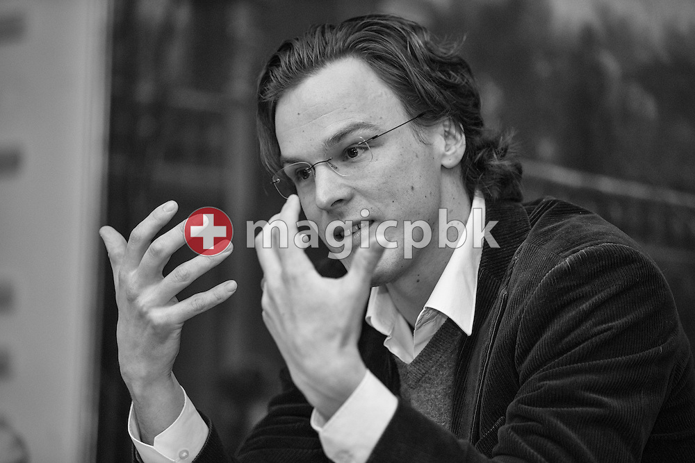 Bastien Girod, member of the Swiss National Council, presents his candidacy for the Council of States of Switzerland during a press conference of the Green Party of the Canton of Zurich, Friday, Feb. 27, 2015. (Photo by Patrick B. Kraemer / MAGICPBK)