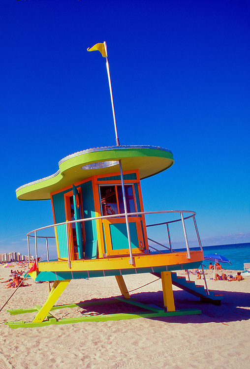 A Post-Modern lifeguard stand, one of a series, all different, designed in 1993 by architect William Lane for the City of Miami Beach. This one's roof references the amoeba-like free forms of 1950s-style Miami Modern (Mi-Mo) architecture.