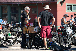 Kevin Waters of England with his 1915 Sunbeam 3 1/2 hp Motor Bicycle on display at the Dodge City finish line during the Motorcycle Cannonball Race of the Century. Stage-8 from Wichita, KS to Dodge City, KS. USA. Saturday September 17, 2016. Photography ©2016 Michael Lichter.