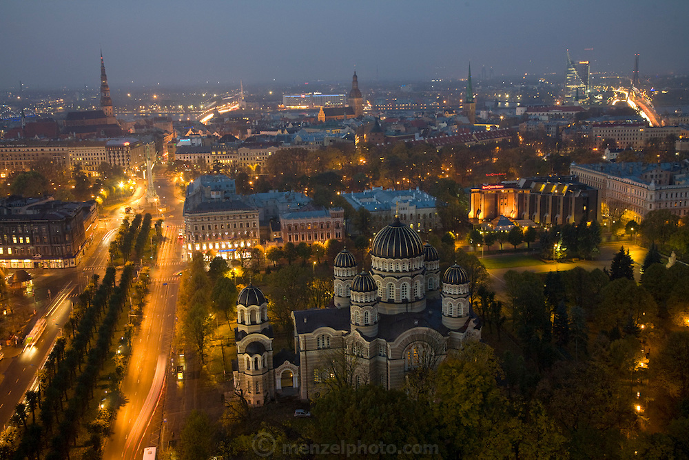 The Nativity of Christ Cathedral in the city of Riga, Latvia with the Daugava River in background.