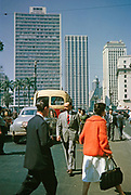 Busy streets with people end traffic in city centre of Sao Paulo, Brazil, South America 1962