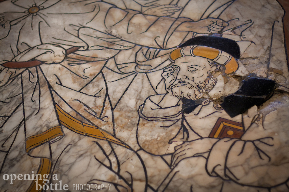 Detail of the floor mosaic inside the Duomo of Siena, Tuscany, Italy.