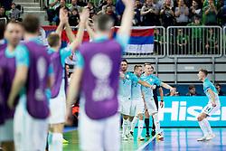 Players of team Slovenia celebrate goal during futsal match between Slovenia and Serbia at Day 1 of UEFA Futsal EURO 2018, on January 30, 2018 in Arena Stozice, Ljubljana, Slovenia. Photo by Ziga Zupan / Sportida