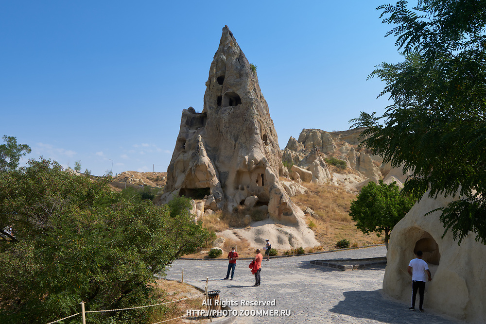 Rock with churches and houses in Goreme Open Air museum, Cappadocia