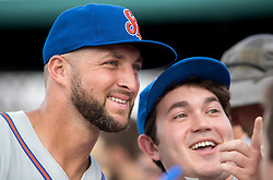 July 7, 2017 - Jupiter, Florida, U.S. - St. Lucie Mets Tim Tebow poses with a fan  at Roger Dean Stadium in Jupiter, Florida on July 7, 2017. (Credit Image: © Allen Eyestone/The Palm Beach Post via ZUMA Wire)