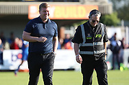 Oxford United manager Karl Robinson walking of the pitch during the EFL Sky Bet League 1 match between AFC Wimbledon and Oxford United at the Cherry Red Records Stadium, Kingston, England on 29 September 2018.