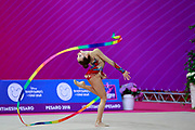 Tuncel Kamelya during the qualification of ribbon at the Pesaro World Cup 2018.Kamelya is a turkish gymnast, born in Yenimahalle, metropolitan district of Ankara Province, in 2002.