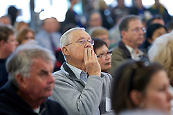 Audience members listen to speeches as Blu Homes opened their West Coast factory on Mare Island in Vallejo, California Dec. 1, 2011.  Over 400 guests attended a ribbon cutting ceremony at the 250,000-square-foot facility.