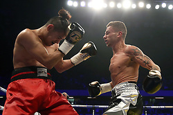 Lucien Reid (right) and Jose Aguiler in the International Featherweight Contest at the Copper Box Arena, London. PRESS ASSOCIATION Photo. Picture date: Saturday September 16, 2017. See PA story BOXING London. Photo credit should read: Scott Heavey/PA Wire