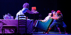 The Mad Hatter's Tea Party <br /> by Zoo Nation<br /> directed by Kate Prince<br /> presented by Zoo Nation, The Roundhouse & The Royal Opera House<br /> at The Roundhouse, London, Great Britain <br /> rehearsal <br /> 29th December 2016 <br /> <br /> Tommy Franzen as Ernest <br /> <br /> <br /> <br /> <br /> Kayla Lomas-Kirton as Alice <br /> <br /> Rowen Hawkins as Tweedle Dum <br /> <br /> Manny Tsakanika as Tweedle Dee<br /> <br /> <br /> <br /> Photograph by Elliott Franks <br /> Image licensed to Elliott Franks Photography Services