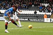 Alfredo Morelos of Rangers scores a late winnner during the Ladbrokes Scottish Premiership match between St Mirren and Rangers at the Simple Digital Arena, Paisley, Scotland on 3 November 2018.