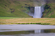 Skogafoss waterfall is in south-Iceland.