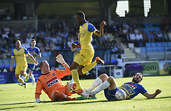 October 15, 2017 - Westerlo, BELGIUM - Westerlo's goalkeeper Kristof Van Hout and Beerschot's Fessou Placca fight for the ball during a soccer game between KVC Westerlo and KFCO Beerschot Wilrijk, in Westerlo, Sunday 15 October 2017, on the eleventh day of the division 1B Proximus League competition of the Belgian soccer championship. BELGA PHOTO JOHN THYS (Credit Image: © John Thys/Belga via ZUMA Press)