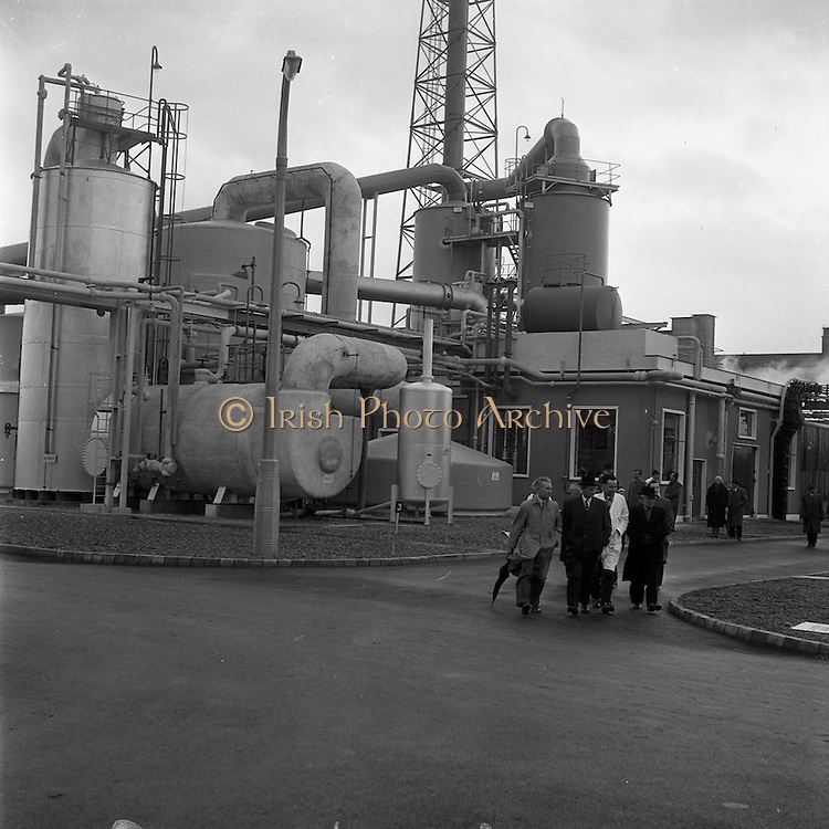 15/01/1962<br /> 01/15/1962<br /> 15 January 1962<br /> Opening of new Sulphuric Acid Plant at Sulphac Ltd., East Wall, Dublin. Minister for Industry and Commerce, Mr Jack Lynch officially opened the plant. The plant was blessed by V. Rev. Fr. F. Hooke, Parish Priest St. Joseph's,  East Wall. Sulphac Ltd. was jointly owned by W. and H.M. Goulding Ltd. and Freeport Sulpher Company of New York. Picture shows a general view of the plant at East Wall as Jack Lynch (2nd left) and the Directors of the company tour the site.