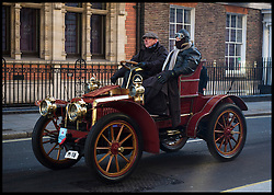 November 6, 2016 - London, London, United Kingdom - Image ©Licensed to i-Images Picture Agency. 06/11/2016. London, United Kingdom. ..The London to Brighton Veteran Car Run 2016...A 1903 Panhard-Levassor Two-seater passes through Westminster, in central London, UK, on the first leg of the journey from London to Brighton...Picture by Ben Stevens / i-Images (Credit Image: © Ben Stevens/i-Images via ZUMA Wire)