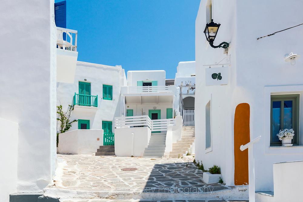 Naousa, Paros, Greece - July 2021: Main tourist village of Paros island