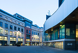 Evening view of Conference Square in modern new financial district in Edinburgh West End, Scotland, United Kingdom
