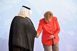 July 7, 2017 - Hamburg, Deutschland - Ibrahim Abdulaziz Al-Assaf State Minister Saudi Arabia, Angela Merkel Federal Chancellor Germany.Offizielle Begruessung der G20-Staats- und Regierungschefs, Hamburg, Germany - 07 Jul 2017.Credit:.Credit: Timm/face to face (Credit Image: © face to face via ZUMA Press)