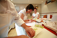 """Lenotre Ecole Culinaire, Paris,..short course - """"Return to the Market"""" with Chef Jacky Legras..slicing onions..photo by Owen Franken for the NY Times..July 12, 2007......."""
